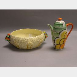 Clarice Cliff Ceramic Fruit Bowl and a Grays Pottery Teapot.
