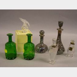 Two Silver Overlay and a Pair of Green Glass Dresser Bottles, and Three Perfume   Bottles