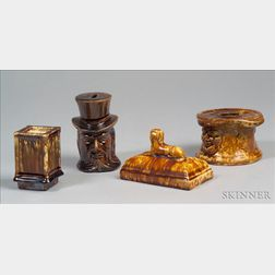 Four Pottery Desk Items