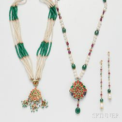 Group of Gold Gem-set Jewelry Items