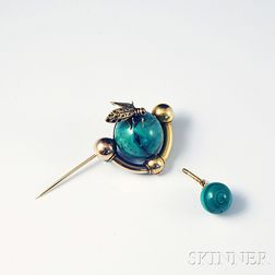 14kt Gold and Malachite Brooch