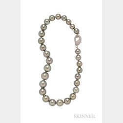 Tahitian Pearls and Diamond Necklace