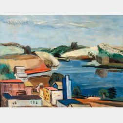 Walter Kuhlman (American, 1918-2009)    Modernist Coastal View