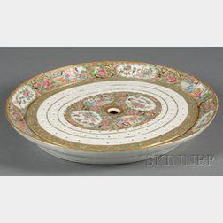 Rose Medallion Decorated Porcelain Platter with Strainer Insert