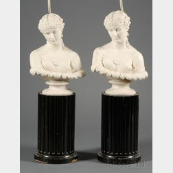 Two Parian Busts/Lamp Bases