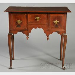 Queen Anne Walnut and Mahogany Veneer Inlaid and Carved Dressing Table