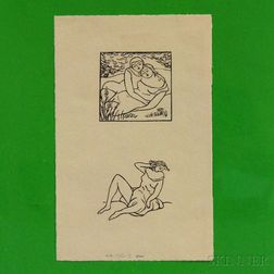Aristide Maillol  (French, 1861-1944)      Two Impressions on a Single Sheet, from Virgil's The Georgics