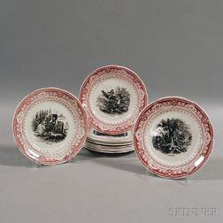 Ten Red and Black Transfer-decorated Plates