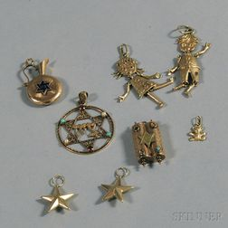 Eight Assorted Gold Charms
