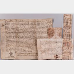 Parchment and Paper Documents, Medieval to 19th Century, Seventeen Examples.