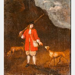 Dutch School, 17th Century      Hunter with a Rifle over his Shoulder and Two Dogs