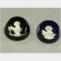 Baccarat Abraham Lincoln and George Washington Glass Paperweights
