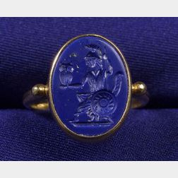 22kt Gold and Lapis Intaglio Ring