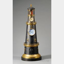 Large Whimsical French Brass and Patinated Metal Lighthouse-form Clock and Barometer