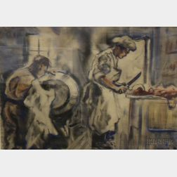 Framed Watercolor and Wash on Paper/board Kitchen Scene K.P.