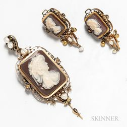 14kt Gold, Pearl, and Cameo Suite