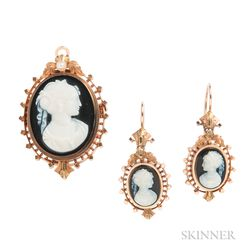 Antique Bicolor Gold and Hardstone Cameo Suite