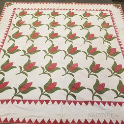 Appliqued Cotton Tulip Quilt and a Patchwork Quilt