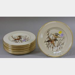 Set of Twelve Abercrombie & Fitch Co. Gilt and Hand-painted Game Bird and Water Fowl   Decorated Porcelain Dinner Plates