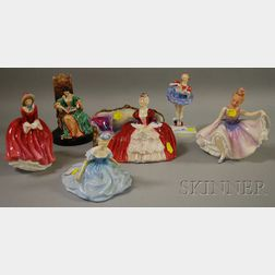 Six Royal Doulton Porcelain Figural Groups and Figures of Ladies