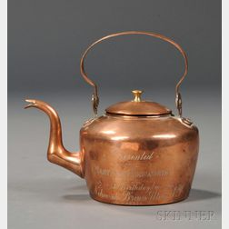 Small Copper Teapot with Engraved Presentation