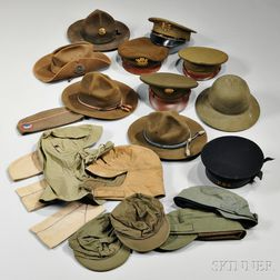 Group of WWI and WWII Headgear