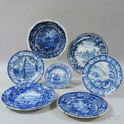 Seven Staffordshire Blue and White Transfer-decorated Plates