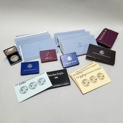 Group of Mint, Proof, and Commemorative Sets and Twelve First Day Covers with Sterling Silver Rounds