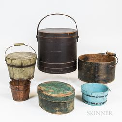 Six Wooden Domestic Items