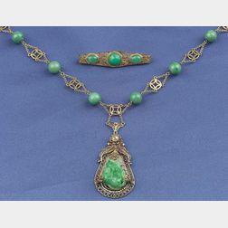 14kt Gold, Jadeite and Seed Pearl Pendant Necklace