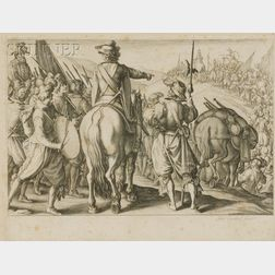 Jacques Callot (French, 1592-1635)      Lot of Two Scenes: Les troupes en marche