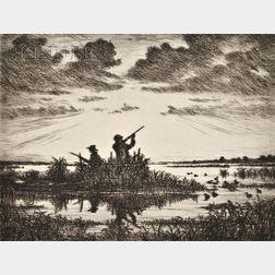 Hans Kleiber (American/German, 1887-1967)      Lot of Two Duck Hunting Scenes:  Marsh Gunners at Dawn