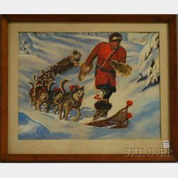 Framed Pastel on Paper of a Dog Sled and a Man on Snowshoes