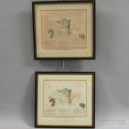 Two Framed Hand-colored Charts of Cedar Key, Florida