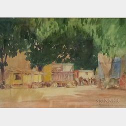 Reynolds Beal (American, 1866-1951)      Circus Wagons with Horses at Rest Beneath a Canopy of Trees