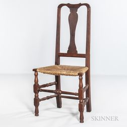 Queen Anne Red-washed Rush-seat Side Chair