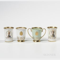 Four Minton Bone China Commemorative Beakers