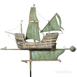 Large Molded Sheet Copper Galleon Weathervane