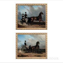 Louis Robert Heyrault (French, d. 1880)      Two Horse and Surrey Paintings