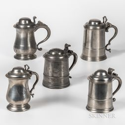 Five Early Pewter Tankards