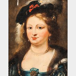 Dutch School, 17th Century      Head of an Elegant Young Woman in a Black Velvet Plumed Cap, Pearls, and Fur Collar