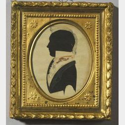 Attributed to William Chamberlain (New Hampshire, c. 1820)  Miniature Silhouette Portrait of a Gentleman.