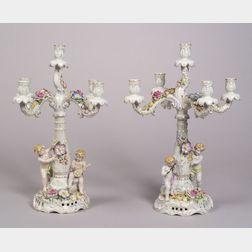 Pair of Schierholz Porcelain Five-light Figural Candelabra