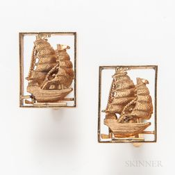 14kt Gold Ship Cuff Links