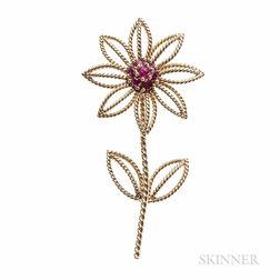Tiffany & Co. 18kt Gold and Ruby Flower Brooch