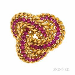 Tiffany & Co. 18kt Gold and Ruby Brooch