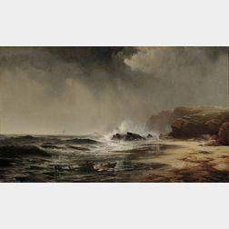 Edward Moran (American, 1829-1901)      Waves Crashing on a Rocky Shore