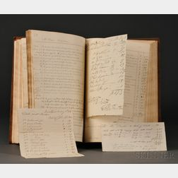 Medical Manuscript Account Ledger of Dr. William Barber (1767-1852) and Six Surgical Lapneedle Documents.
