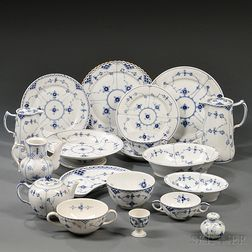 Assembled Royal Copenhagen Blue Flute   Pattern Porcelain Tableware