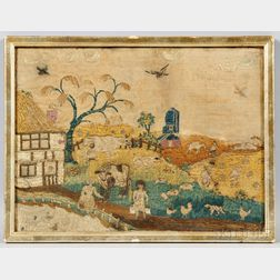 English Embroidered Farm Scene